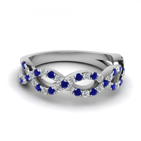 Sapphire Rhodium Plated 925 Sterling Silver Women's Wedding Band