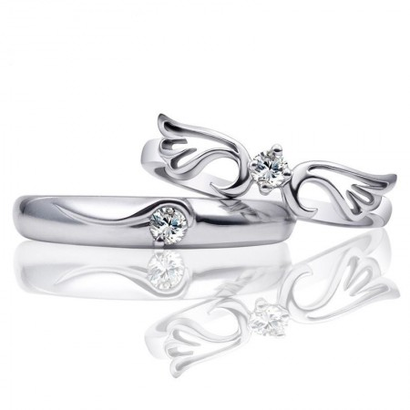 925 Silver Angel Wings Adjustable Couple Rings
