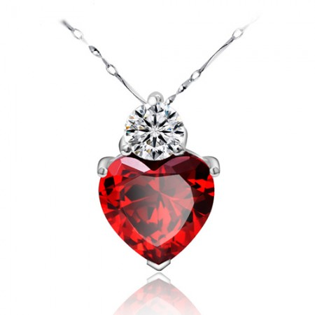 'Sincere Heart' Rhinestone 925 Sterling Silver With Gold Plated Women's Pendant