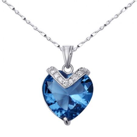 Romantic Heart Of The Ocean 925 Sterling Silver Rhinestone Pendant Women's Necklace