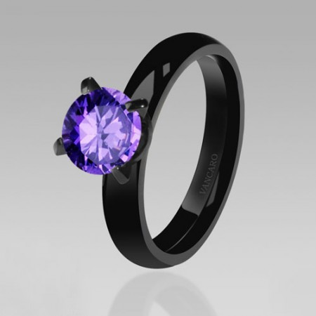 Unique Solitaire Purple Cubic Zirconia CZ Ring Women Black Ring