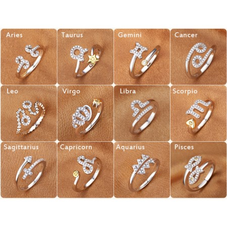 12 Constellations Opening Adjustable 925 Sterling Silver Platinum Plated Rings