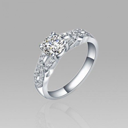 Woven Style 925 Sterling Silver Plated Platinum 0.8ct Cubic Zirconia Women's Ring